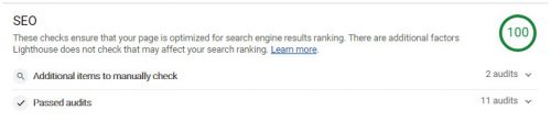 lighthouse - result - seo